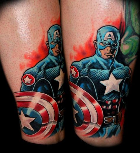 Captain America tattoo by Chris 51 at Area 51 Tattoo in Oregon