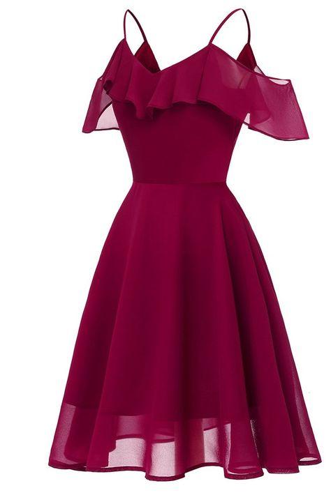 Burgundy Off-the-shoulder A-line Spaghetti Strap Prom Dress