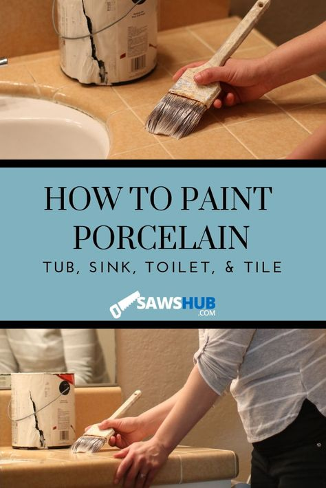 Learn how to paint porcelain, ranging from your toilet to your tub to your sink. These painting tips will help you select the best paint as well. #sawshub #painting #porcelain #toilet #bathtub #sink