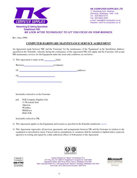 Computer Support Computer Support Agreement Sample - software - horse lease agreements