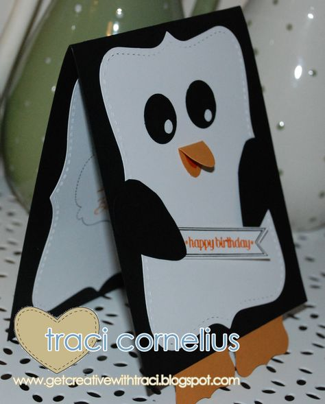 Side view of the Penguin Card  http://www.getcreativewithtraci.blogspot.co.uk/2013/04/cutest-commissioned-card.html  Traci Cornelius Independent Stampin Up Demonstrator
