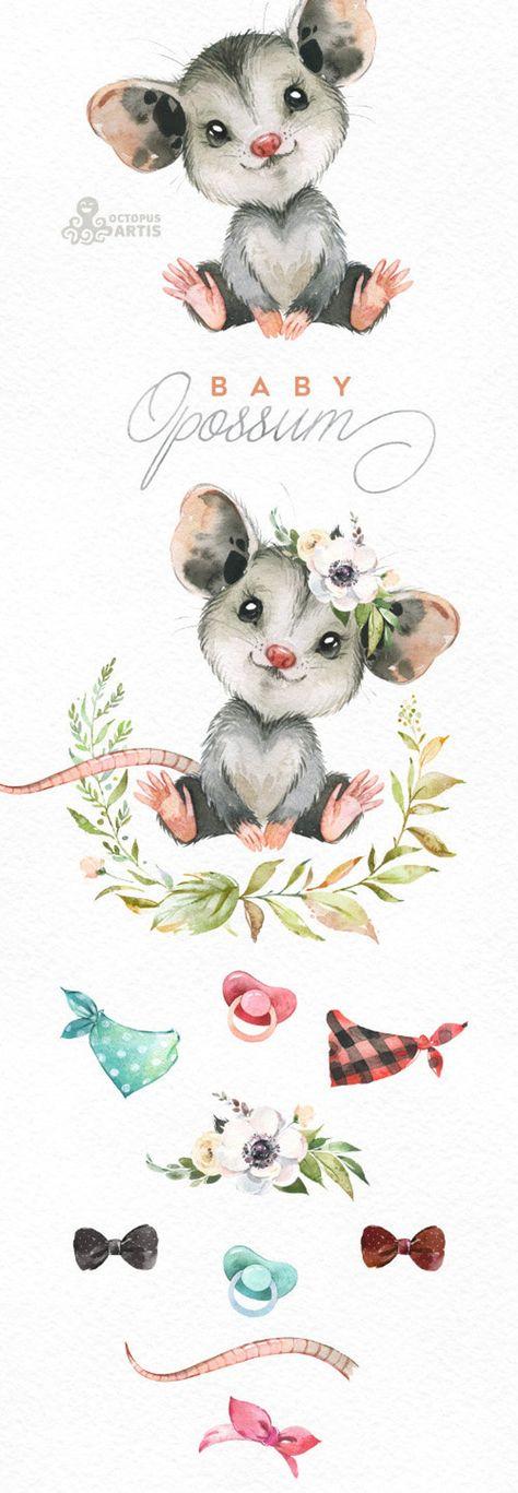 Baby Opossum. Watercolor little animals clipart, woodland, portrait, wreath, flowers, kids, nursery