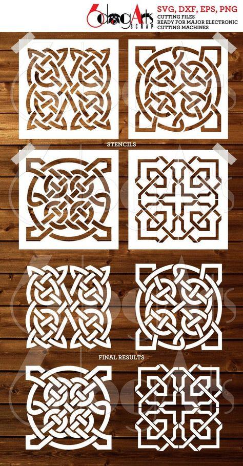 4 Celtic Tile Digital Stencil Template Designs SVG DXF cut files diy Mylar Film die Cutting Cookie Stencils Cricut Digital Download JB-982
