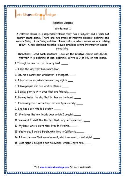 Grade 5 English Resources Printable Worksheets Topic Relative Clauses Relative Clauses 1st Grade Writing Worksheets Language Worksheets Printable english worksheets for