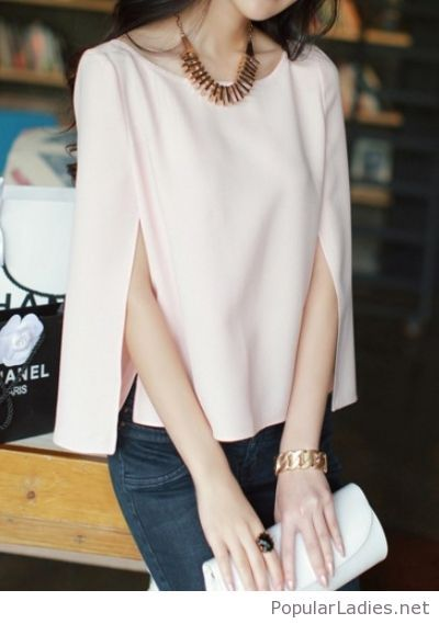 Cape Top And Jeans Chiffon Blouse Long Sleeve Fashion Chiffon Long Sleeve