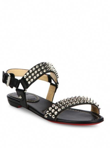 half off d75fd e5a40 Christian Louboutin - Bikee Bike Spiked Leather Flat Sandals ...