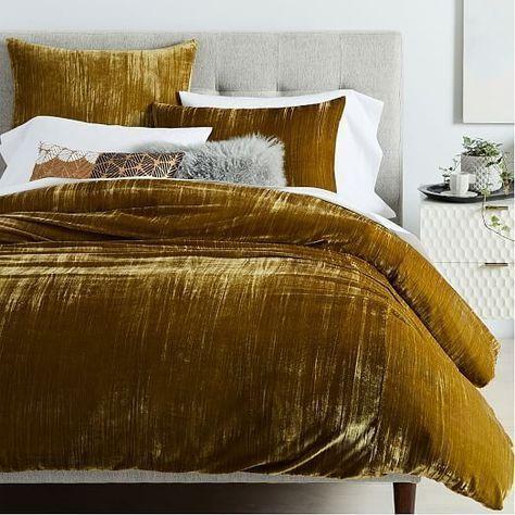 Crinkle Velvet Duvet Cover Shams In 2021 Duvet Cover Master Bedroom Bed Linens Luxury Luxury Bedding
