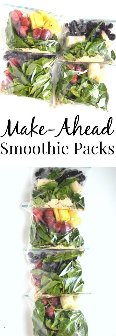 Four make-ahead smoothie pack combinations that are stored right in your freezer! Save time by making these freezer smoothie packs ahead that just require 1 cup of liquid and blending to have breakfast or snack ready in no time. www.nutritionistreviews.com #smoothie #cleaneating #healthy #mealprep #makeahead