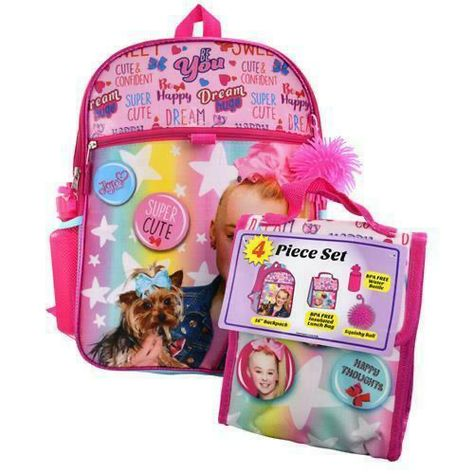 "(🏷 Price $19.99 🎀) Jojo Siwa 4 pcs SET 16"" inches Backpack PINK Cute Perfect for Gift New Licensed"
