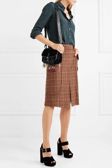 8719380861ab PRADA stylish Messenger leather-trimmed quilted velvet shoulder bag ...