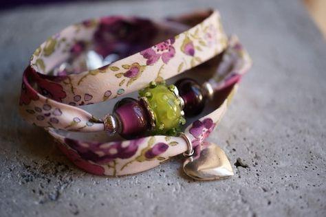 Bracelet Liberty Prune et Vert et Perles en Verre de Murano.