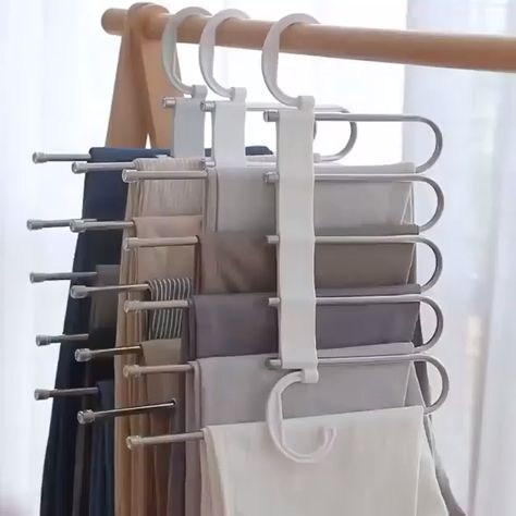 No need to iron your clothes!!! Always keep your clothes tidy!!! Stylish and Durable: Our metallic Pants Rack is durable, rustproof, and stylish. Space Saving Design: The adjustable storage rack can be hung steadily with two hooks or it can be hung vertically, it can hold up to 5 pairs of pants at one time and it will
