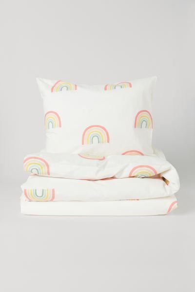 Patterned Duvet Cover Set White Rainbows Home All H M Us Duvet Cover Pattern Bed Linen Inspiration Duvet Cover Sets