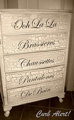 DIY French Inspired Decor: From Blah to Ooh-La-La {Dresser} - Love the crackle finish!