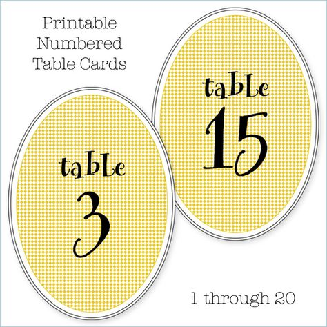 Printable Numbered Table Cards