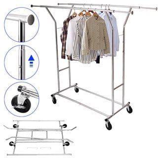 Single//Double 250LB Rail Portable Clothes Hanger Rolling Garment Rack Heavy Duty