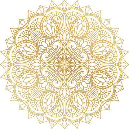 Vector Golden Contour Mandala Ornament Vintage Decorative Elements Mandala Free Vector Art Mandala Stencils