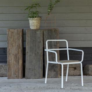 Outdoor Stuhl Mit Armlehne Gartenstuhl Weisses Metall Und Holz