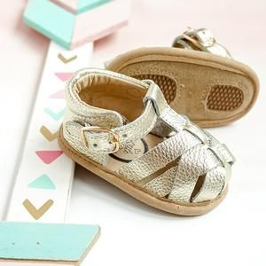 Baby Summer Leather Close Toe Sandals Soft Rubber Sole Leather Baby Walking Shoes Gold