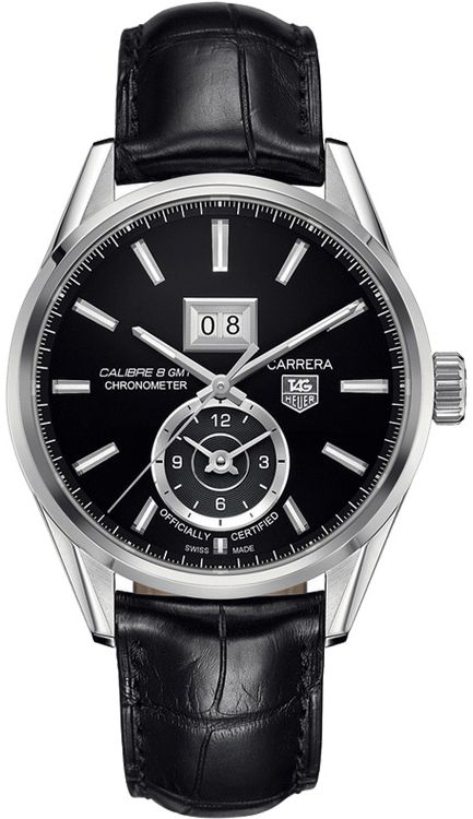 WAR5010.FC6266 NEW TAG HEUER CARRERA CALIBRE 8 GMT MENS LUXURY WATCH IN STOCK   - FREE Overnight Shipping   Lowest Price Guaranteed    - NO SALES TAX (Outside California)- WITH MANUFACTURER SERIAL NUMBERS- Black Dial- GMT 2nd Time Zone Feature - Self Winding Automatic Chronometer Movement- Sapphire Crystal Exhibition Back Case - 3 Year Warranty - Guaranteed Authentic- Certificate of Authenticity - Manufacturer Box
