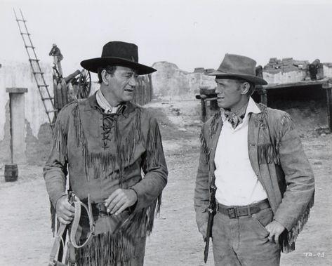 THE ALAMO (1960) - John Wayne (pictured) - Richard Widmark (pictured) - Laurence Harvey - Chill Wills - Frankie Avalon - Joan O'Brien - Patrick Wayne - Ken Curtis - Linda Cristal - Produced & Directed by John Wayne - United Artists - Publicity Still.