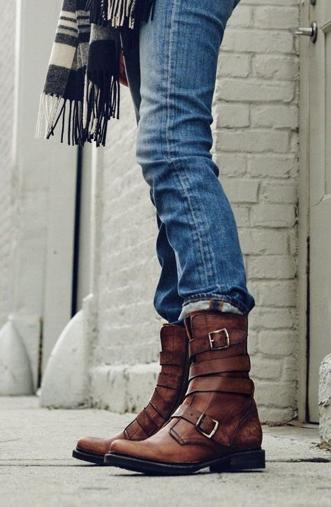 I have these boots. I wore them all over Italy -- they're great with jeans, skirts, etc, etc. Frye 'Veronica' Tanker Boot (Women)