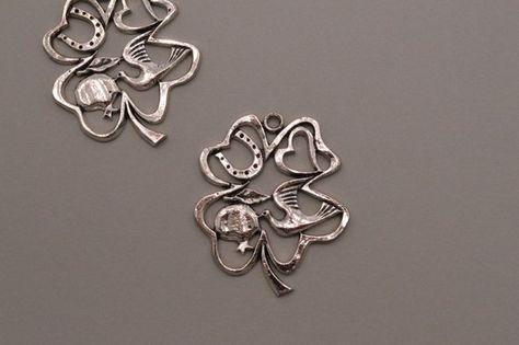 100Pcs Antiqued Silver Alloy Filigree Leaves Charm Pendants 19x10mm DIY Jewelry