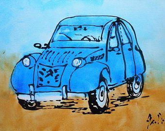 Tableau Voiture 2cv Verte Vintage Peinture Etsy In 2020 Car