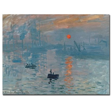 """Claude Monet - Impression, soleil levant, 1873 at Musée Marmottan Monet Paris France. The painting by Claude Monet which gave rise to the name of the Impressionist movement Listed in the book Paintings You Should Know"""" Monet Paintings, Landscape Paintings, Famous Art Paintings, Famous Impressionist Paintings, Impressionist Landscape, Seascape Paintings, Indian Paintings, Sunrise Painting, Poster Print"""