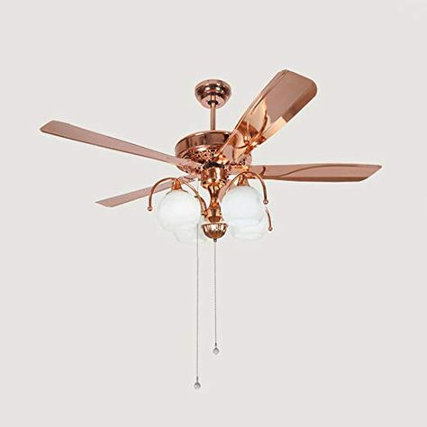 Rainierlight Modern Rose Gold Ceiling Fan For Indoor Milk White Glass Cover Iron Blades Led Light Home Decorative 48 Gold Ceiling Fan Ceiling Fan Gold Ceiling