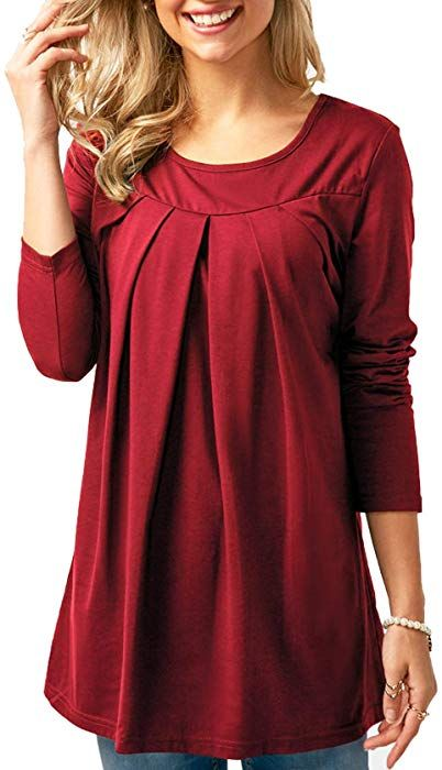 c1016b9a557b Ladies Blouse Casual Solid Loose Plain Fall Tops Novelty T Shirts Royal Blue  Large at Amazon Women's Clothing store: