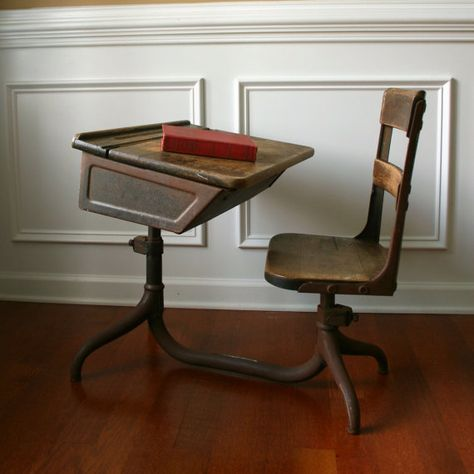 Antique Kids School Desk and Chair. 1930s.