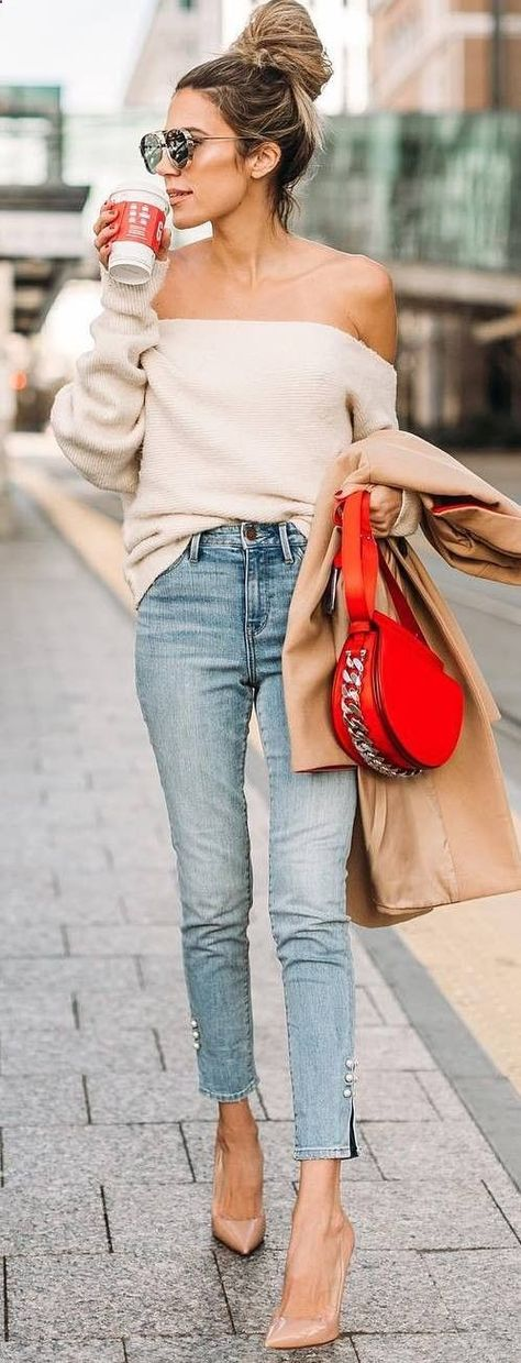 dbc1ce8567 Women s Sweaters -  womenssweaters - trendy outfit idea   off shoulder top  red bag coat