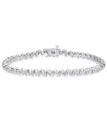 Diamond Tennis Bracelet 1 Ct T W In Sterling Silver Sterling Silver Jewelry Bracelets Gold Silver Engraved Bracelet