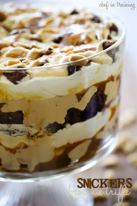 Snickers Brownie Trifle from chef-in-training.com. ...If you love snickers, then you will love this trifle! Chocolate, nougat, caramel, peanuts.. all ingredients for delicious!