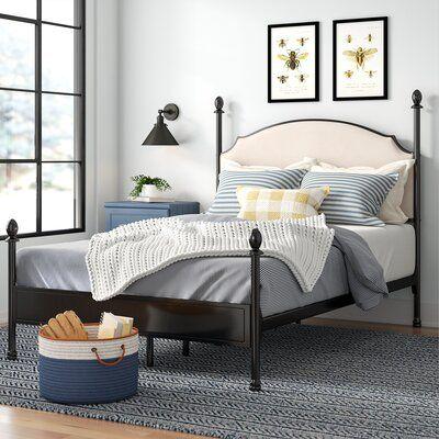Laurel Foundry Modern Farmhouse Granite Range Upholstered Four Poster Bed Size California King In 2020 Four Poster Bed Upholstered Panel Bed Upholstered Platform Bed