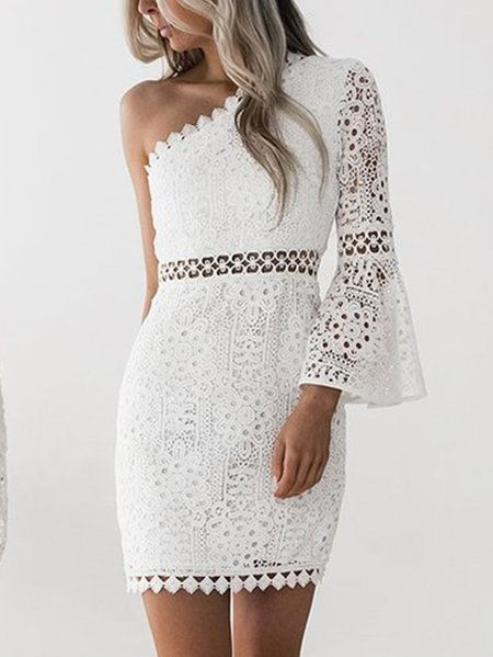 White One Shoulder Bell Sleeve Lace Dress Us2495