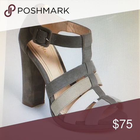 Cole Haan sandal Cole haan Chelsea strappy suede gray sandal with Nike air technology, leather lining and sole.  These are very gently loved and in excellent condition, size 8, heel height 4 1/4inch, adjustable strap with buckle closure. Cole Haan Shoes Sandals