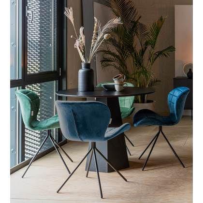 Eetkamertafel Stoelen Aanbieding.Zuiver Omg Velvet Stoel Blauw Limited Edition Set Van 4