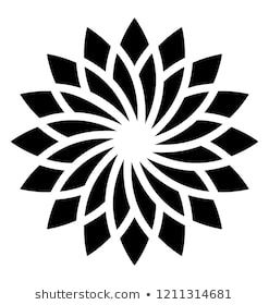 Imagens, fotos stock e vetores similares de Op Art Flower optical illusion design in black and white. Colors are grouped for easy editing. - 253825387   Shutterstock
