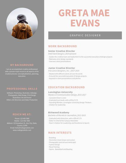 Customize 1 082 Resume Templates Online Canva Graphic Design Resume Graphic Design Cv Resume Design