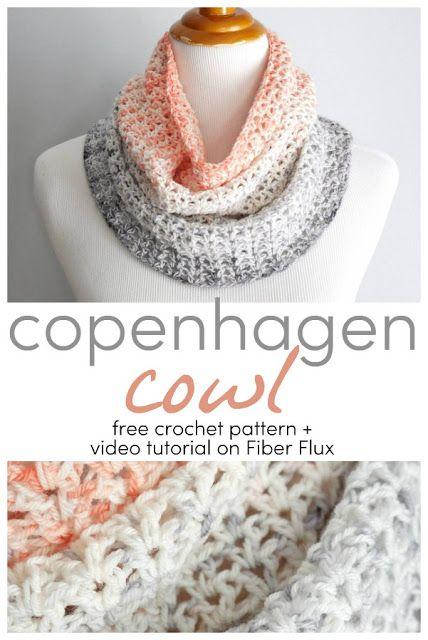 Most current Pics Crochet cowl Suggestions Copenhagen Cowl, Free Crochet Pattern + Video on Fiber Flux Crochet Scarves, Crochet Shawl, Crochet Clothes, Infinity Scarf Crochet, Crocheted Scarves Free Patterns, Infinity Scarfs, Crochet Granny, Crochet Crafts, Easy Crochet