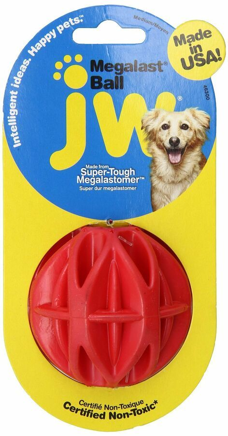 Jw Pet Megalast Ball Medium Colorful Thermo Plastic Rubber Dog Toy