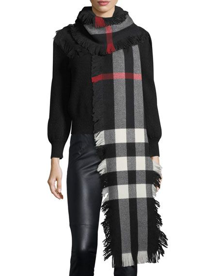 DESIGNER INSPIRED STYLE CASHMERE SCARF GREY//RED PLAID SCARF WITH FRINGES