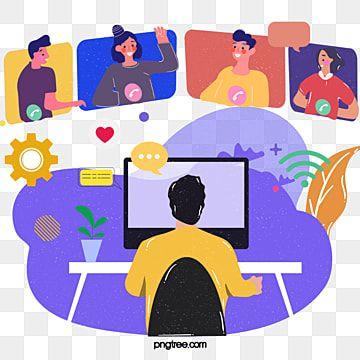 Gambar Ilustrasi Konferensi Video Komputer Kartun Yang Digambar Tangan Merah Jambu Pertemuan Urusan Bisnis Png Transparan Clipart Dan File Psd Untuk Unduh Gr Desain Banner Ilustrasi Vektor Ilustrasi Karakter