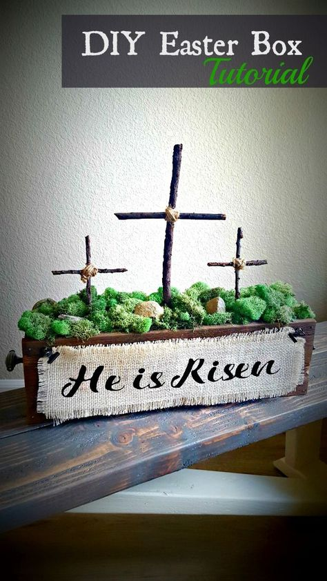 How to Make a Wooden Cross for Beautiful Decor – Leap of Faith Crafting DIY Christian Easter decorations! Make a He is Risen centerpiece with wooden crosses to display at home or church. Easy rustic and inexpensive cross decor. Wooden Crosses, Crosses Decor, Diy Simple, Easy Diy, Ester Decoration, Diy Osterschmuck, Christian Crafts, Christian Easter, Diy Easter Decorations