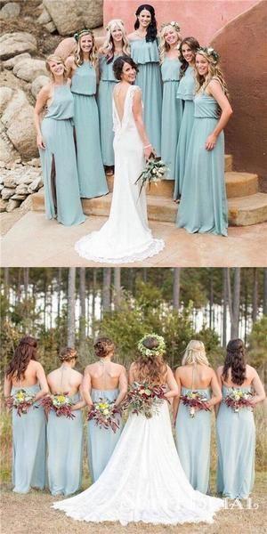 A-Line Halter Slit Long Backless Mint Green Chiffon Bridesmaid Dresses – Sofit Bridal