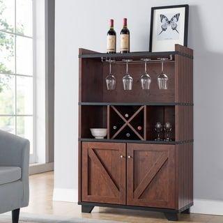 Furniture Of America Wesleyan Rustic Farmhouse Wine Cabinet Buffet Vintage Walnut Brown Furniture Of America Wine Cabinets Cabinet