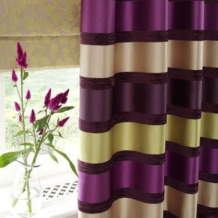 Stripe Drapes Purple Green | ... Purple And Green Striped Satin Curtain  With Neutral Leaf Roman Blind | For My New Home | Pinterest | Roman Blinds,  ...