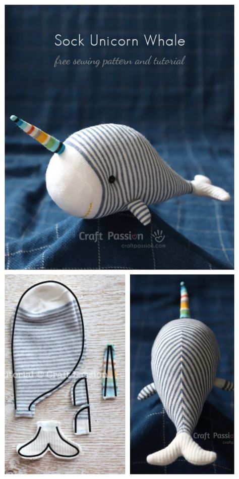 DIY Sock Unicorn Whale Free Sewing Pattern Sewing Techniques It is a fact th. - DIY Sock Unicorn Whale Free Sewing Pattern Sewing Techniques It is a fact that knowing how to s - Sewing Toys, Sewing Crafts, Sewing Projects, Sewing Clothes, Diy Projects, Diy Clothes, Sewing Patterns Free, Free Sewing, Pattern Sewing